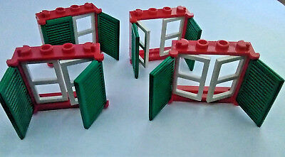 Lego 6 x Windows with shutters 60594 60607 White Pearl Gold New Window 1X4X3