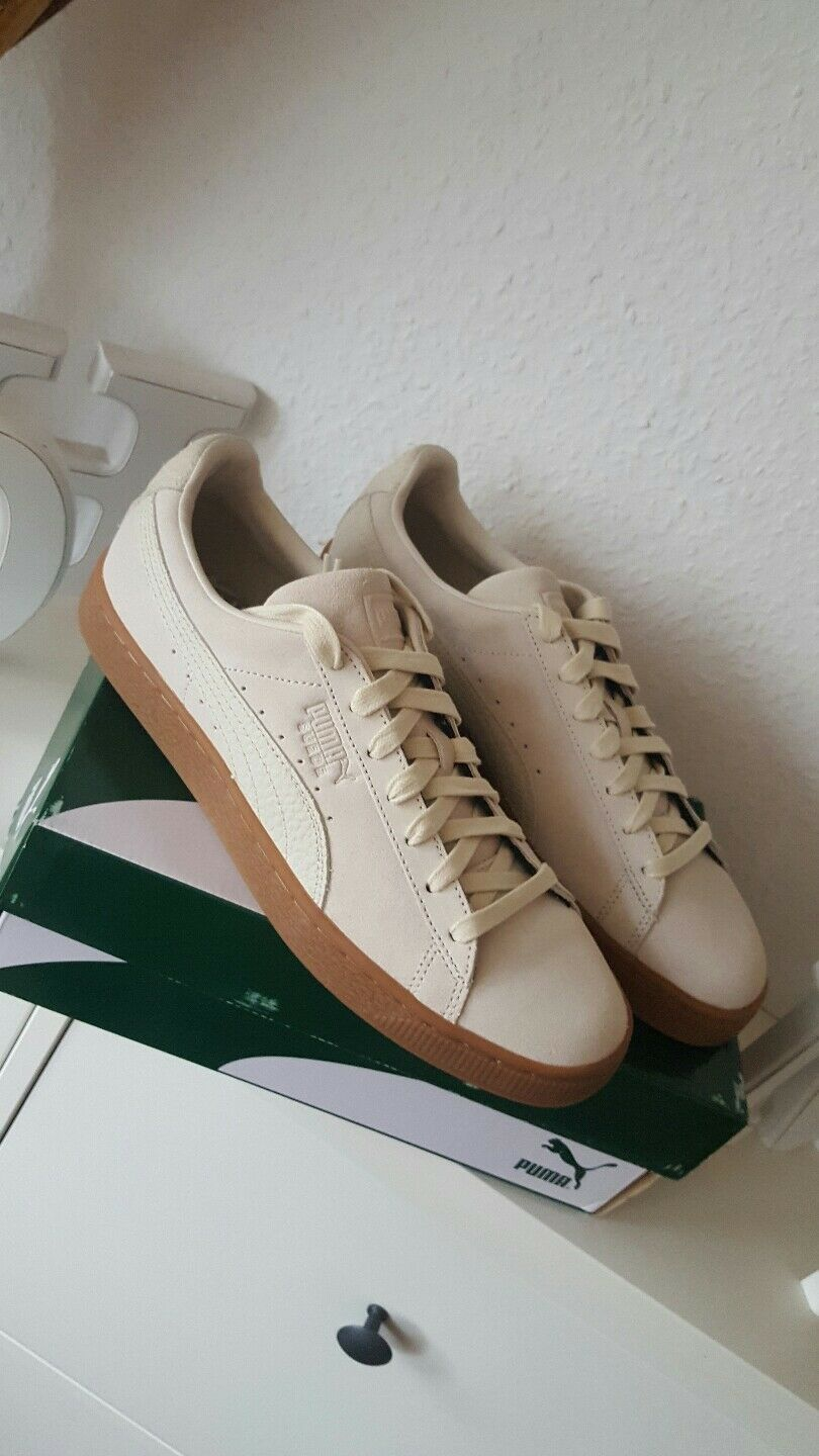 Puma Suede Classic Natural Womens Mens Sneaker shoes Beige Cream Leather 43