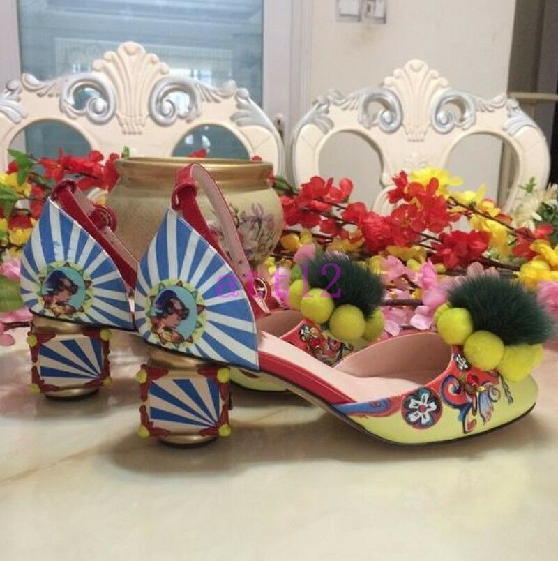 Zapatos De Fiesta X Pompón Mujer Grueso Tacón Tacón Tacón Bloque Medio Hebilla de correa de diamantes de imitación de bomba  Envío rápido y el mejor servicio