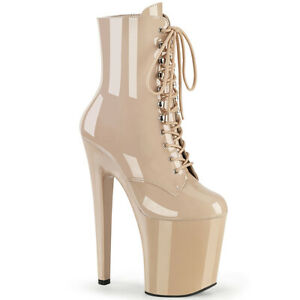 """Pleaser XTREME-1020 Beige Patent 8"""" Heel Platform Lace-Up Front Ankle Boot"""