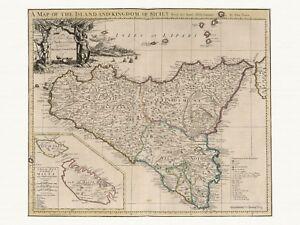 Details about Old Vintage Antique Sicily Italy Malta map Senex ca. 1721  paper or canvas