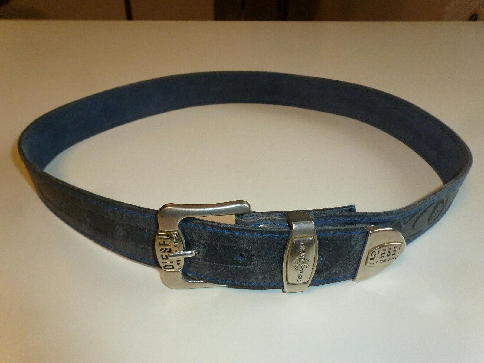 Gürtel Herren, Diesel, Leder, blau, Jeansgürtel, Länge 105 cm