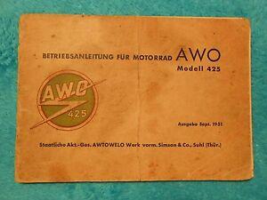 BETRIEBSANLEITUNG-SIMSON-AWO-425-ORIGINAL-Motorrad-1951-DDR