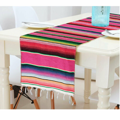 Mariage Mexicain Poncho Table Runner rayé Tassel Coton Couverture Nappe