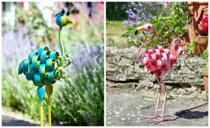 Metal-Animal-Garden-Ornament-Outdoor-Stake-Unique-Hand-Painted-Decor-Colourful