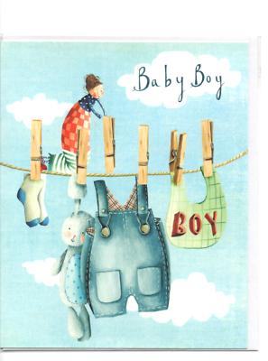 Beducht Carte.garçon.félicitations .baby Boy . 17 Cm X 14 Cm.motif Vetements étendus