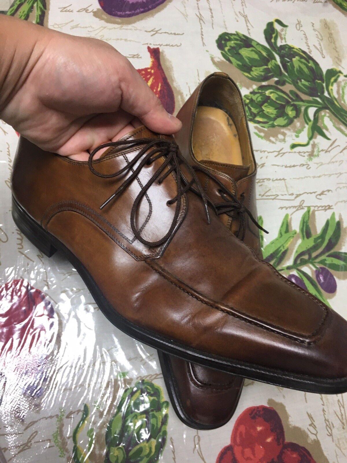Magnanni 13723 Men's Oxford schuhe 9.5 M Light braun Leather EUC