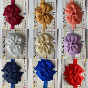 Baby-Headbands-Girls-Hair-bands-Newborn-9-CM-Bow-Toddler-UK-Handmade-Seller-Lot