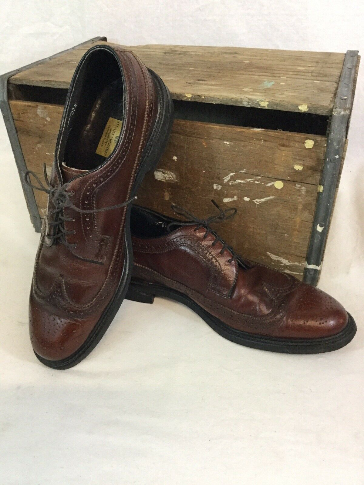 Men's Stuart McGuire Oxford Wing Tip Full Brogue Brown Leather shoes Size 10.5 C