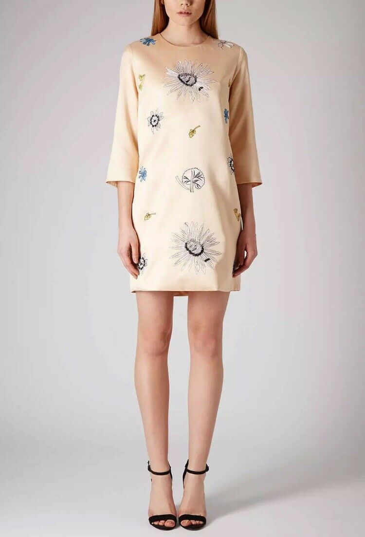 TOPSHOP 12 Peach Embroidered Satin Shift Dress Spring Summer Wedding 60s Floral