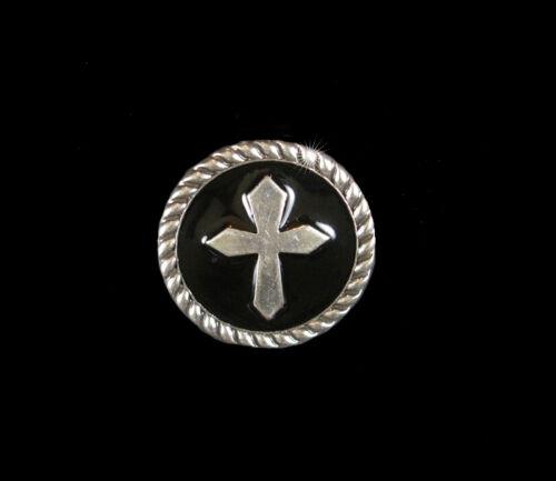 Western Reiter Stift 6 Schwarz Epoxy Silberkreuz Conchos 1.9cm