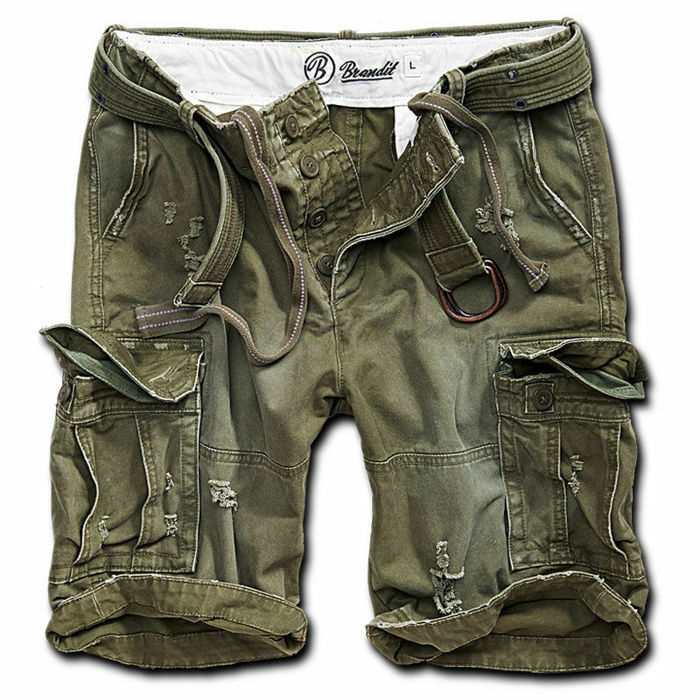 Brandit M65 Pantalon Court Shell Valley Heavy Vintage Short avec Ceinture vert