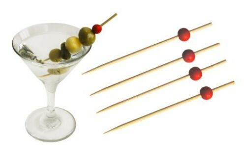 """Olive Party Food Pick Pack of 100 Bamboo Red Bead 4.5/"""" Shank Pick // Cocktail"""