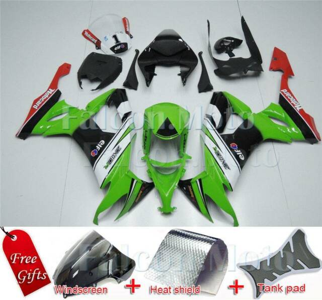 Injection Molding Fairing Fit for ZX10R 2008-2010 Green Black White ABS  Plastics
