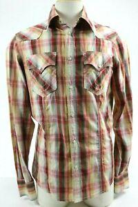True-Religion-Men-039-s-Western-Long-Sleeve-Shirt-Pearl-Snap-Size-M-Plaid-Burgundy