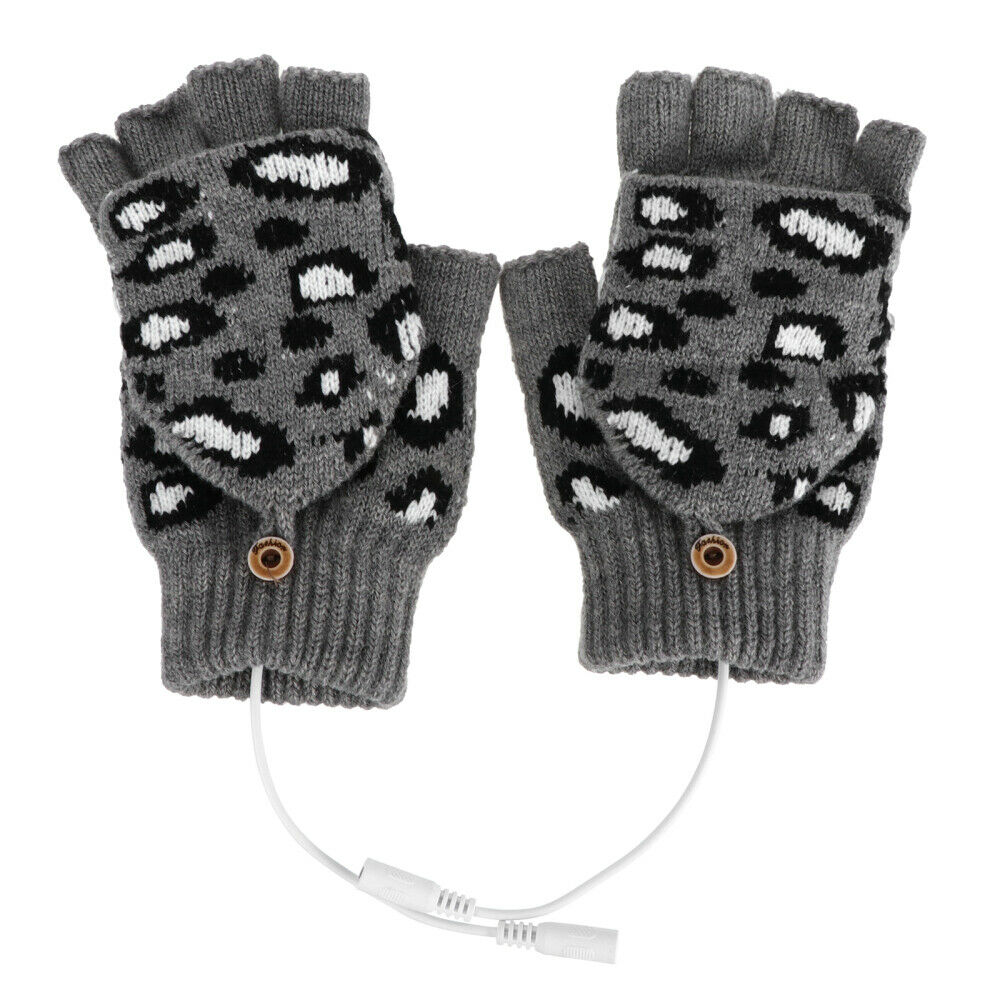 1 Pair Office USB Powered Half Finger Heated Washable Knitted