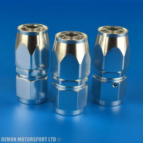 AN8-8 8AN Straight Hose Fitting 3 Pack JIC For Braided Hose Polished Silver