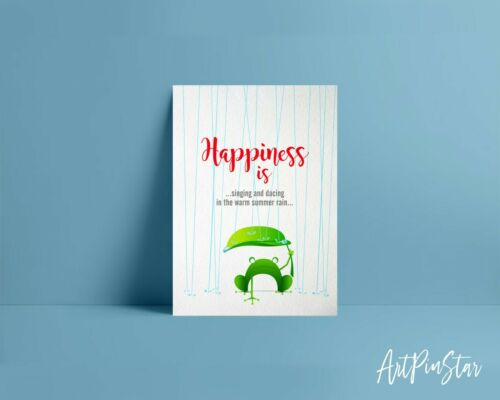 Details about  /Happiness is singing and dancing in the warm summer rain Animal Greeting Card