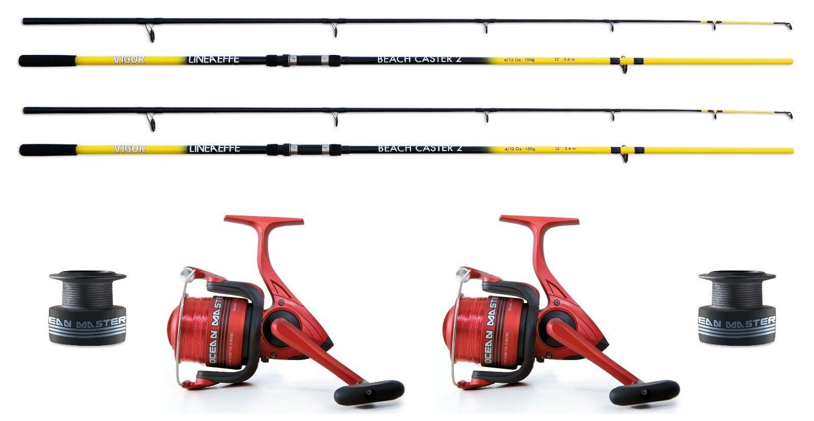 2 Vigor 12ft Beachcaster rods & 2 Ocean master 70FD Reels + line Sea fishing