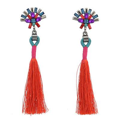 Fashion Women Rhinestone Flower Long Tassel Dangle Ear Stud Earrings Jewelry