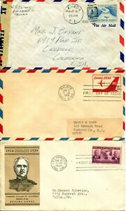 Panama-CANAL-ZONE-Cover-Collection-FDC-Airmail-Postage-Stamps-USA