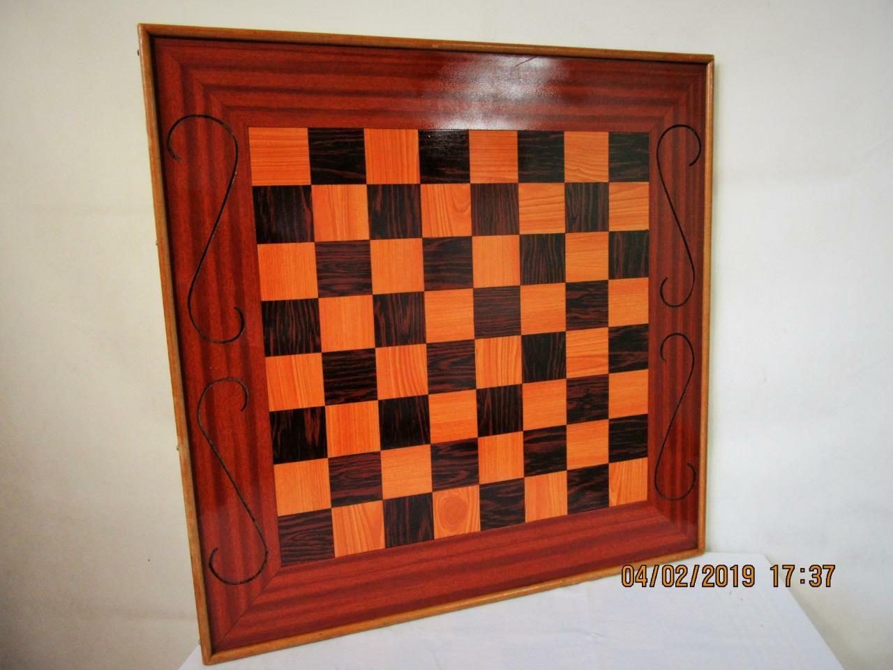 VINTAGE HOME MADE X LARGE CHESS  BOARD 22.5 inches SQUARES OF 51 mm NO PIECES
