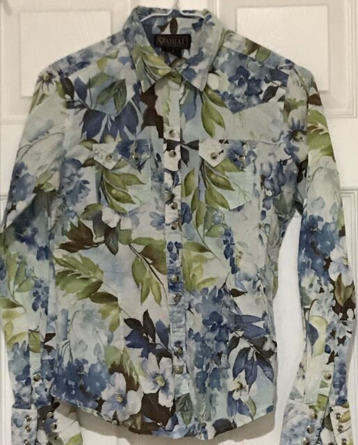 Ariat Western Rockabilly Country Ranch Pearl Snap Floral Shirt Sz S Green Brown