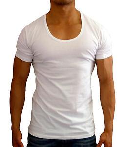 New mens plain white deep scoop neck t shirt muscle slim for Deep scoop neck t shirt