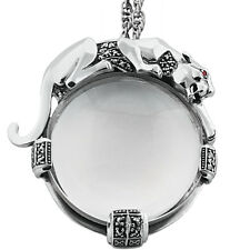 PANTHER MAGNIFYING GLASS PENDANT ON CHAIN STERLING SILVER 925  FROM ARI D NORMAN