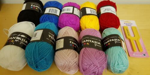 Hemline Dual Size Pom Pom Maker Yarn Kit Make Your Own See Ideas Choose Colours