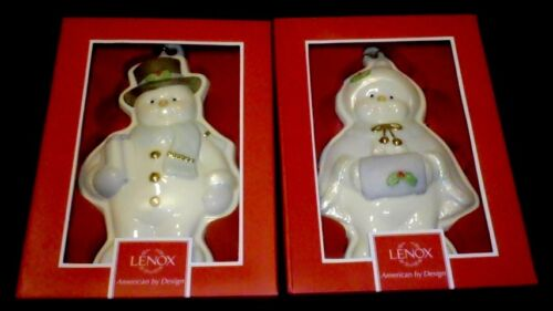 Lenox Fine China Snowman Cookie Molds Ornaments Set of Mr and Mrs Snowman Cookie Molds with Certificate of Authenticity