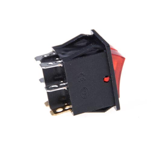 luz roja 16A 125V/_k Interruptor de eje de balancín del barco doble 6pin on-off