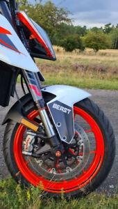 """KTM Super Duke 1290 R 17-19 """"BEAST"""" Aufkleber Front Kotflügel Fender Decal BLACK"""