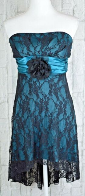 Speechless Strapless Lace Dress Formal High Low Brooch Front Black Teal Small S