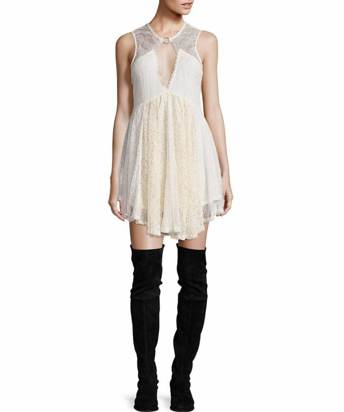 NWT Free People Don't You Dare Lurex Keyhole Mini Dress Retail
