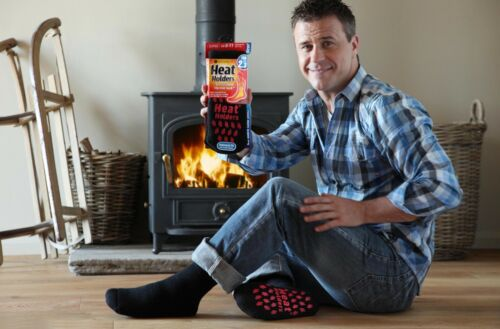 Bigfoot Heat Holders 2.3 Tog da Uomo Termico Pantofola Antiscivolo Calze Nero Rosso