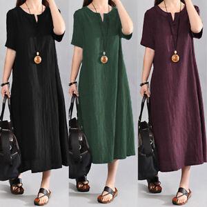 Womens-Summer-Casual-Boho-Bohemia-Linen-Maxi-Long-Dress-Beach-Kaftan-Plus-Size-L