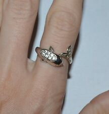 STERLING SILVER AND CLEAR CZ DOLPHIN RING SIZE 7
