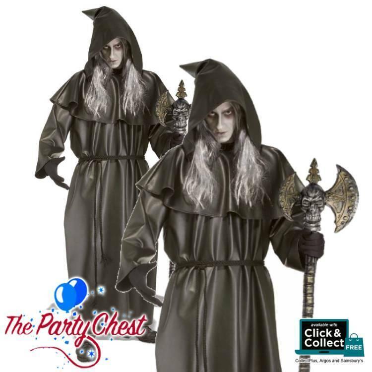 BLACK PVC FINAL DESTINATION HALLOWEEN ROBE Adult Hooded Reaper Vampire Robe 6702