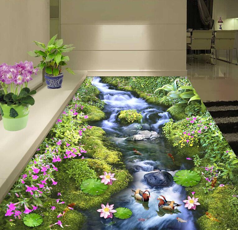 Corriente de 3D Piso Parojo de papel pintado mural Lotus hierba impresión Calcomanía 5D AJ Wallpaper