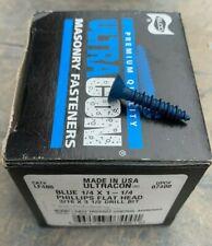 ELCO UltraCon Concrete Screws 100 1//4 x 1-3//4 Flat Head Blue Stalgard Finish