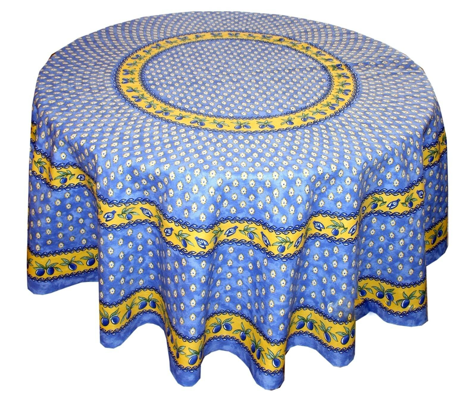 LE CLUNY, MONACO bleu French Provence enduit Coton Nappe, 70  rond, NEUF