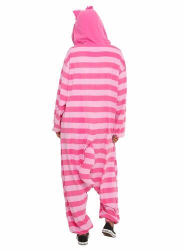 Disney Alice in Wonderland Cheshire Cat Kigurumi Cosplay Hooded PJ Pajamas Pink