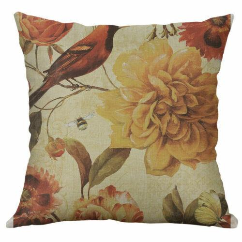 "Throw Waist Decor Pillow flower Case Retro Cover Home Cushion Sofa 18/"" Linen"