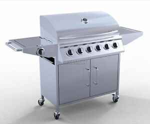 FoxHunter-6-Burner-BBQ-GAS-GRILL-STAINLESS-STEEL-BARBECUE-1-lato-OUTDOOR-NUOVO