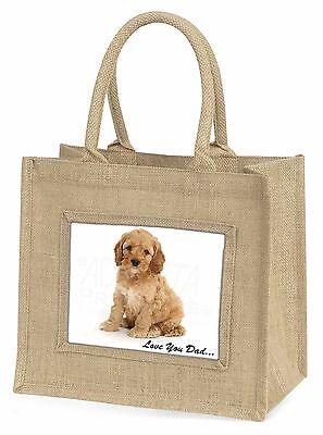 Cockerpoodle 'Liebe dich Papa' Große Natürliche Jute-einkaufstasche Weihnachten,