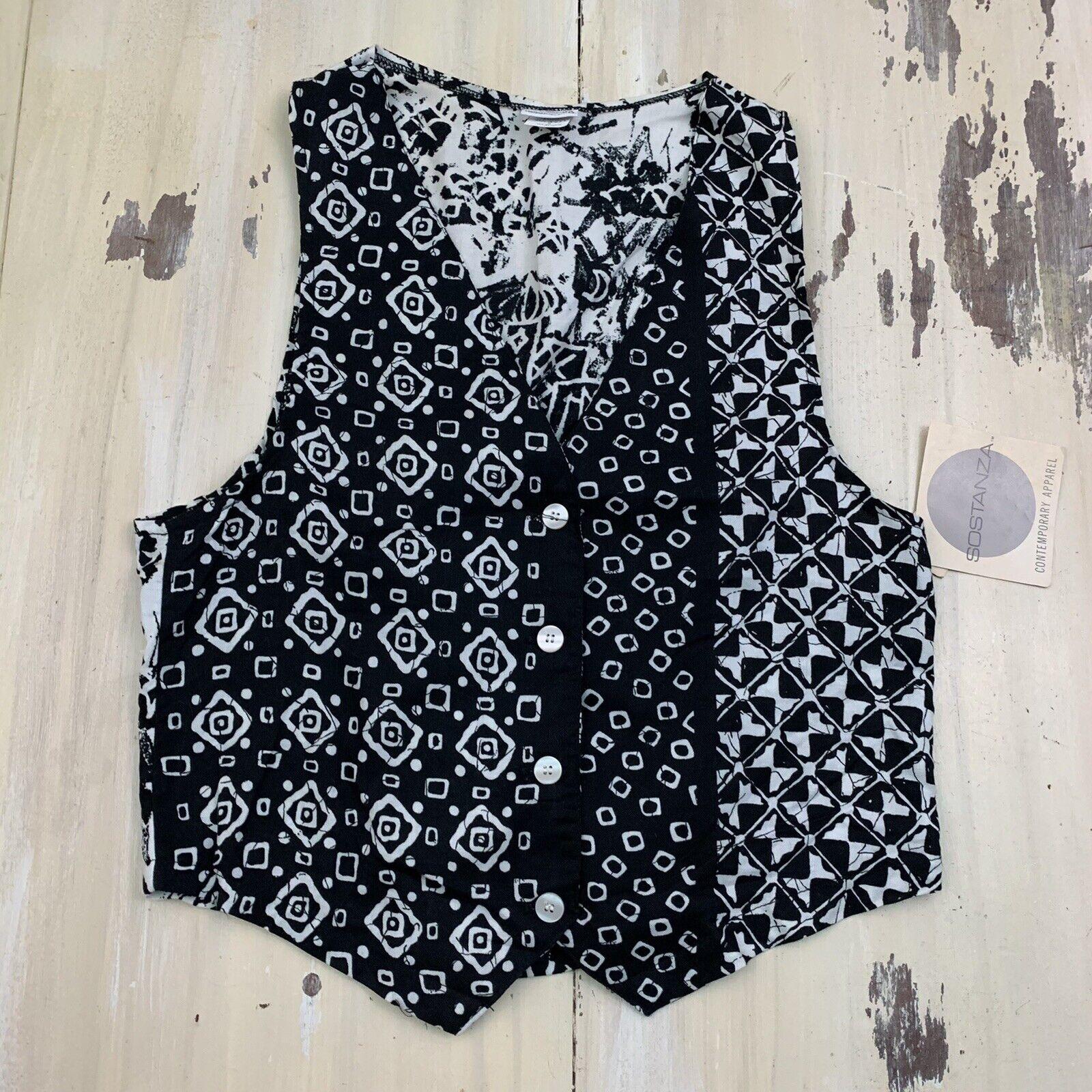 SOSTANZA - Vtg 90s NWT Black & White Geometric Print Vest, Womens SMALL