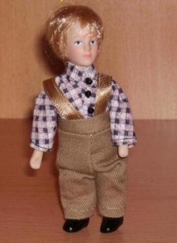 Junge Jens mit brauner Hose,Maßstab 1:12 Puppe Miniatur f.d Puppenstube  #15#