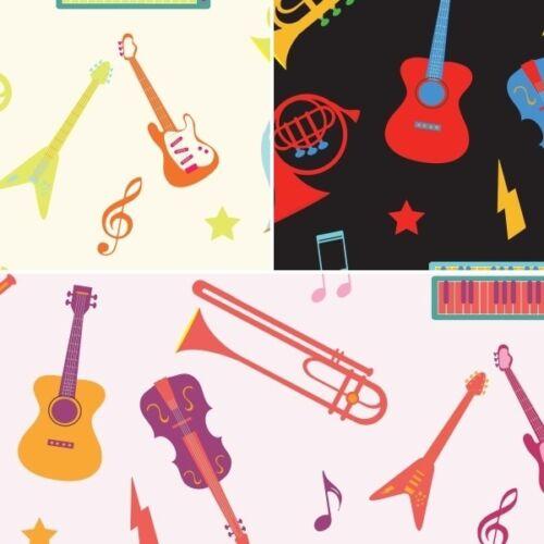 El sonido de instrumentos musicales dispersos 100/% tela de algodón Fabric Freedom
