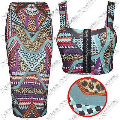 Genial Womens Ladies Bodycon Aztec Print Pencil Skirt Crop Top Suit Tops Mini Skirts